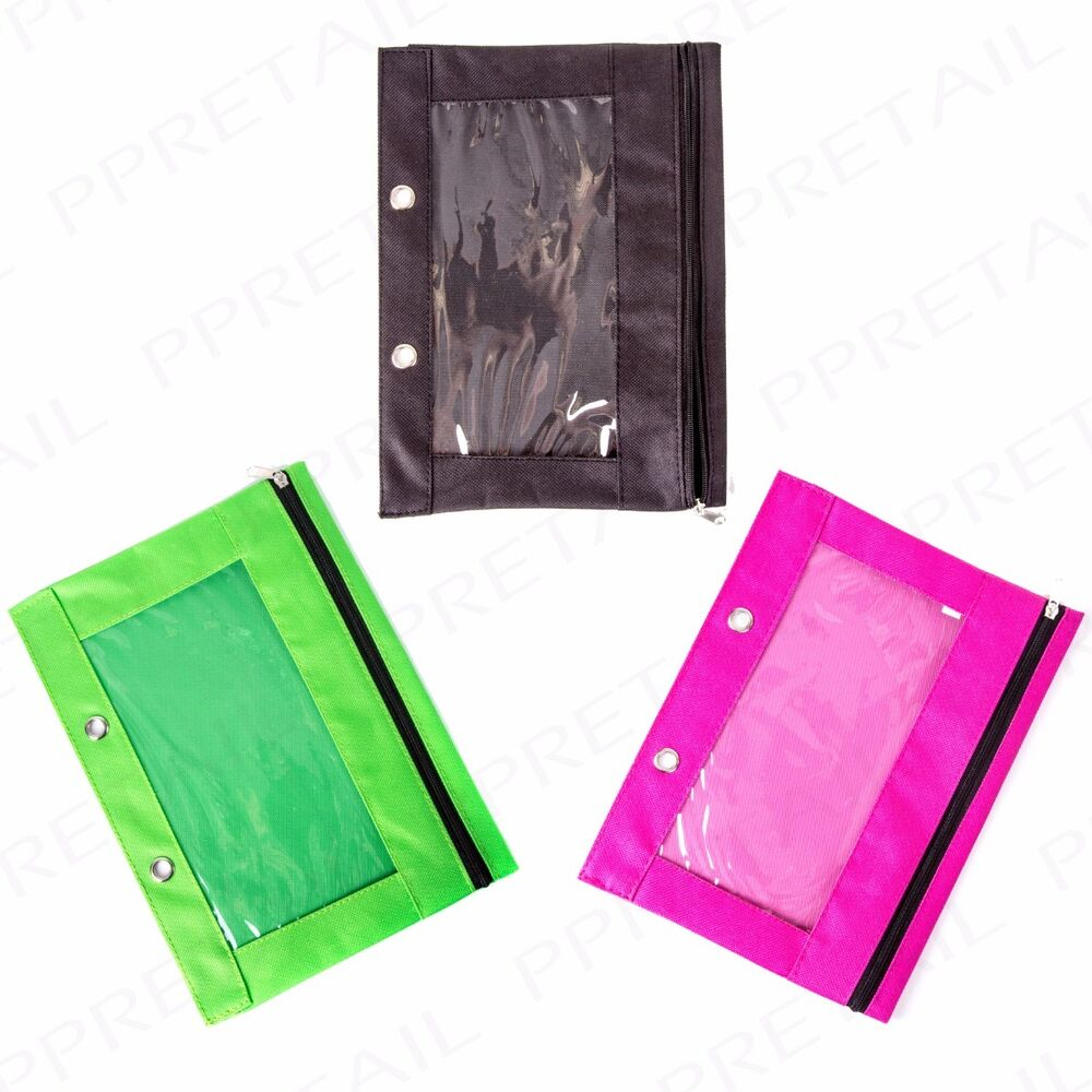 colourful ring binder pencil case organiser student clear
