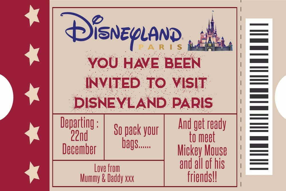 personalised disney ticket style disneyland paris invites inc envelopes a5 ebay. Black Bedroom Furniture Sets. Home Design Ideas