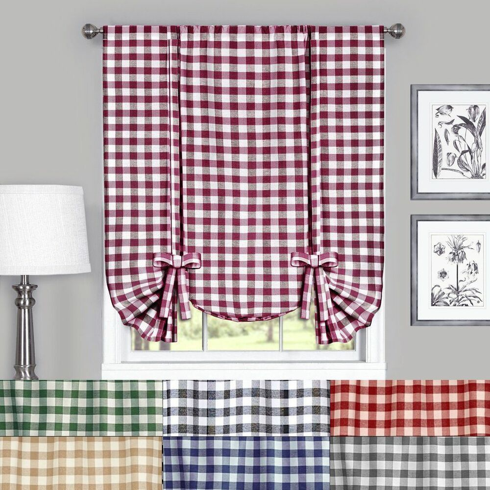 Buffalo Check Plaid Gingham Tie Up Window Curtain Shades