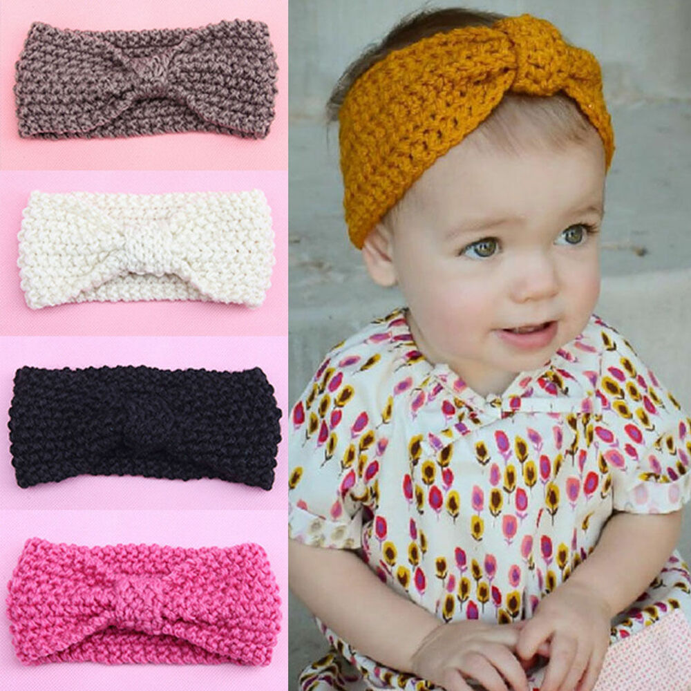 Cute Kids Girl Baby Toddler Crochet Bow Headband Hair Band Accessory