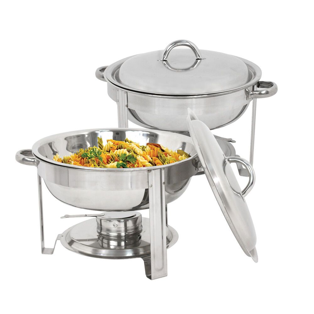 new stainless steel chafer 2 pack round chafing dish sets 5 qt dinner serving ebay. Black Bedroom Furniture Sets. Home Design Ideas