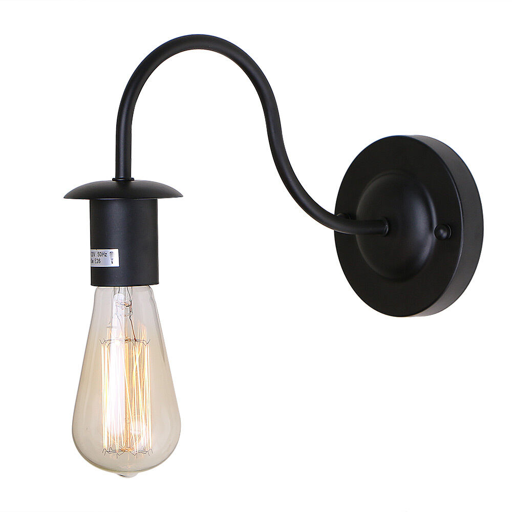 Industrial Edison Vintage Black Gooseneck Wall Sconce Lamp Light Fixture Home