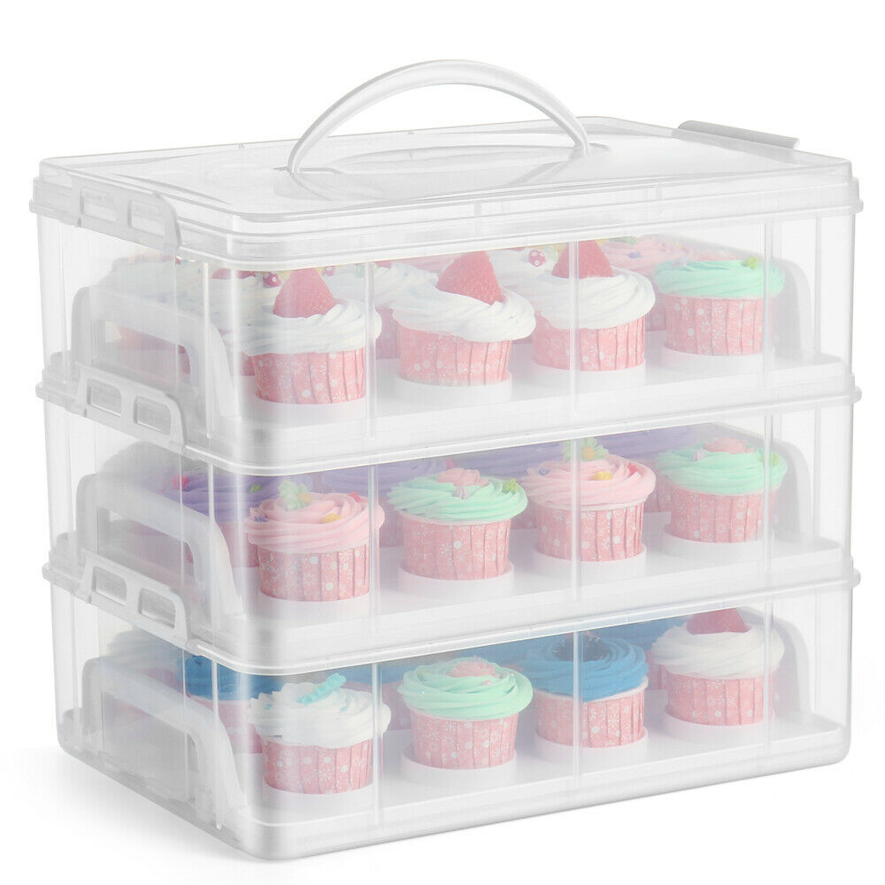 Cupcake Carrier Holder Container Box Clear Plastic Storage