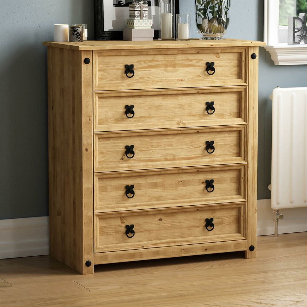 Corona 5 Drawer Chest Furniture Mexican Solid Pine Wood