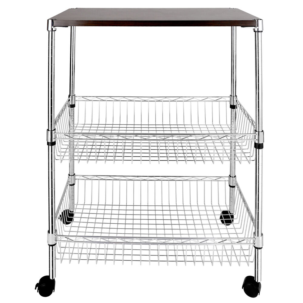 3-Tier Wire Shelving Rack Rolling Kitchen Cart Trolley W