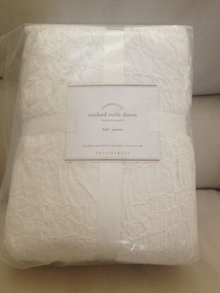 1 Pottery Barn White Ruched Voile Full Queen Duvet Cover