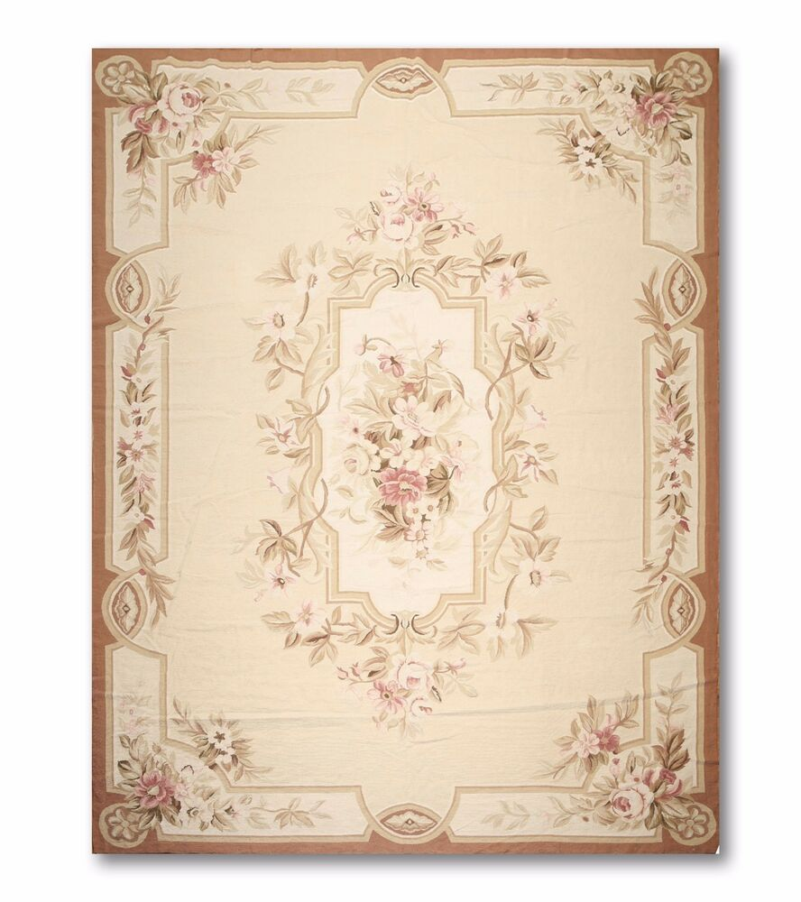 9x12 Area Rugs Living Room: 9x12 Stunning Handmade French Needlepoint Aubusson Area