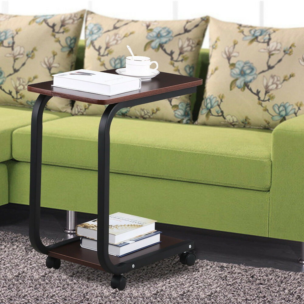 Coffee 2 tier sofa side end snack tray table cart rolling for Side table for sectional sofa