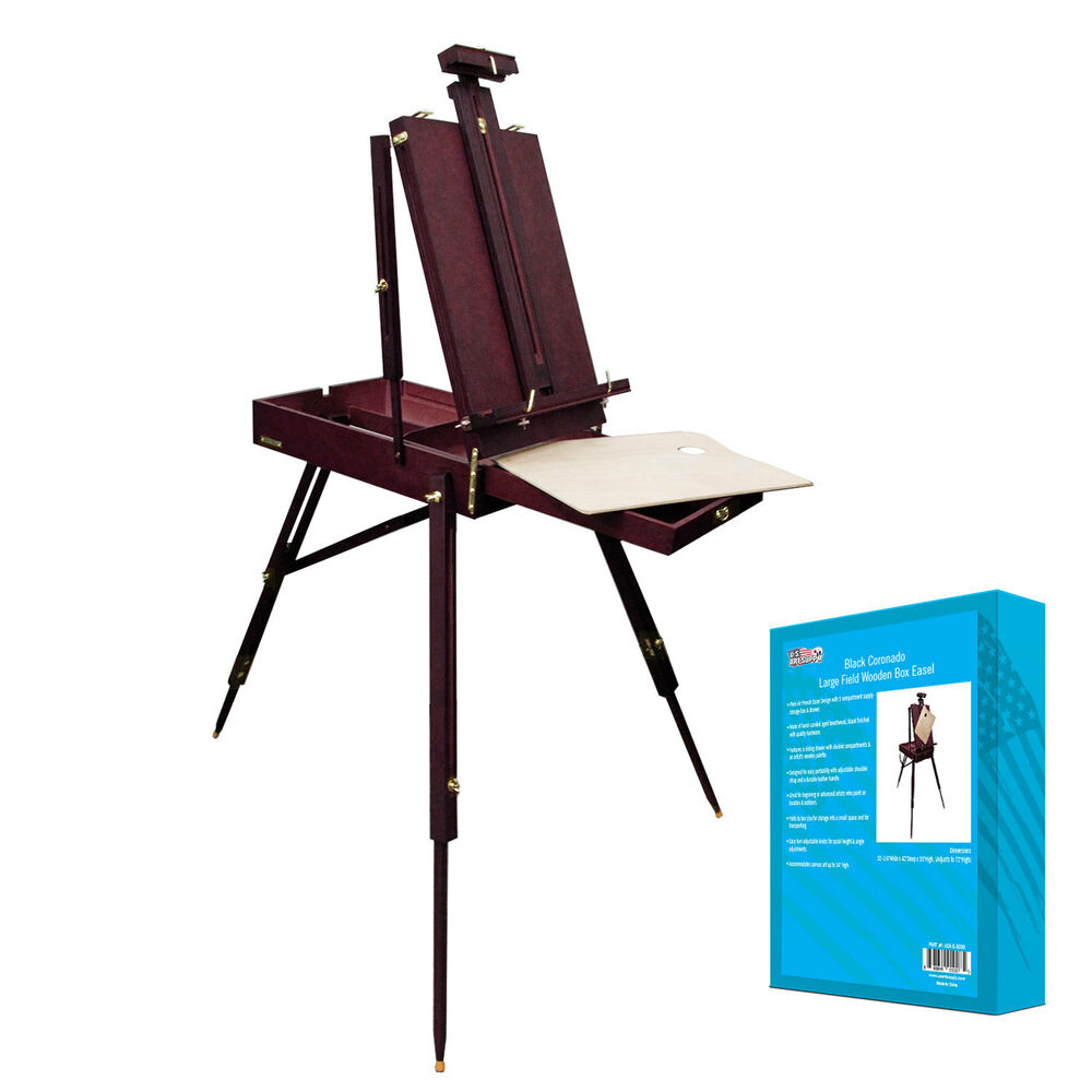 Black cherry french style portable wood easel sketch box for Ptable french