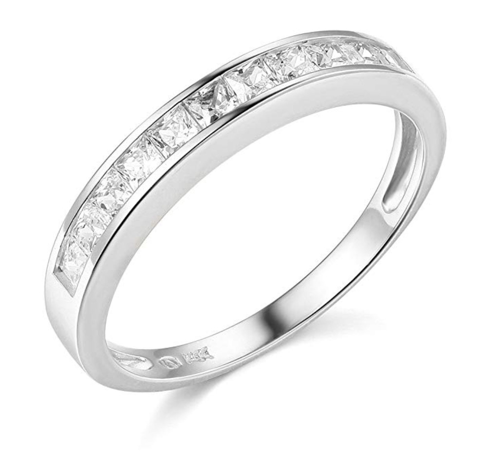 White Gold Bands: 1 Ct Princess Cut Real 14k White Gold Engagement Wedding