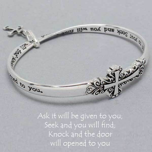 Cross Charm Bracelet: Ask Seek Knock Cross Bracelet SILVER Charm Bangle