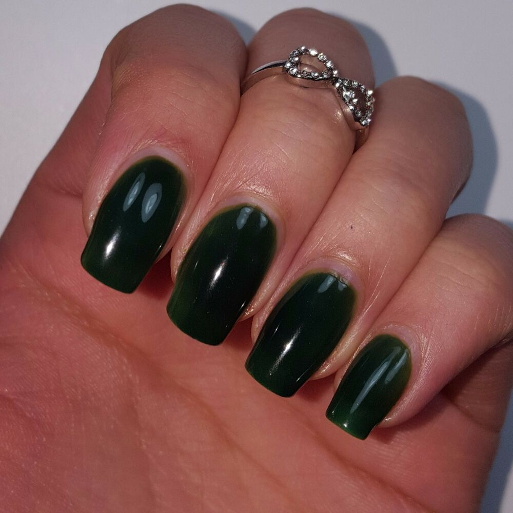 Black Nail Polish Ebay: DARK JADE GREEN Shiny Nail Polish 15ml Indie 5-free