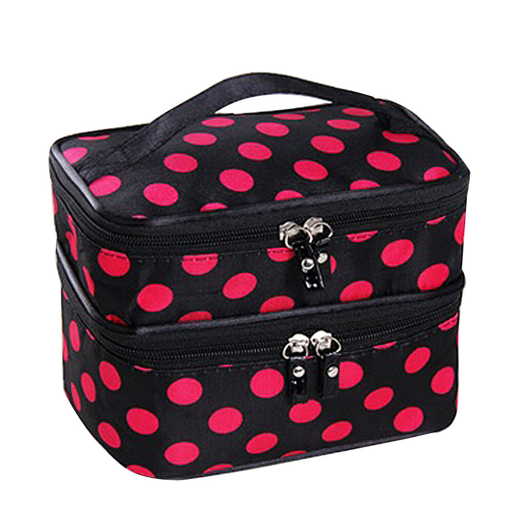 7ebc98bd44 Details about Women Double Layer Travel Cosmetic Bag Makeup Case Toiletry  Organizer RoseredDot