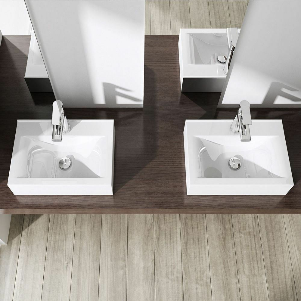 durovin compact square bathroom ceramic wall mounted counter top wash basin sink ebay