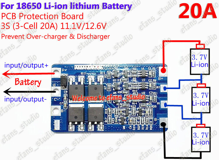 3s 20a Li Ion Lithium Battery 18650 Charger Protection