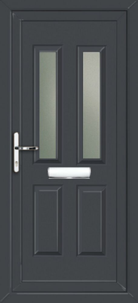 Upvc front door made to measure grey on white ebay for Upvc french doors made to measure