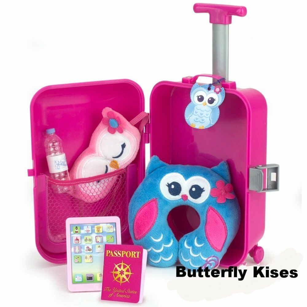 7 Pc Travel Suitcase Set Fits 18 In American Girl Doll