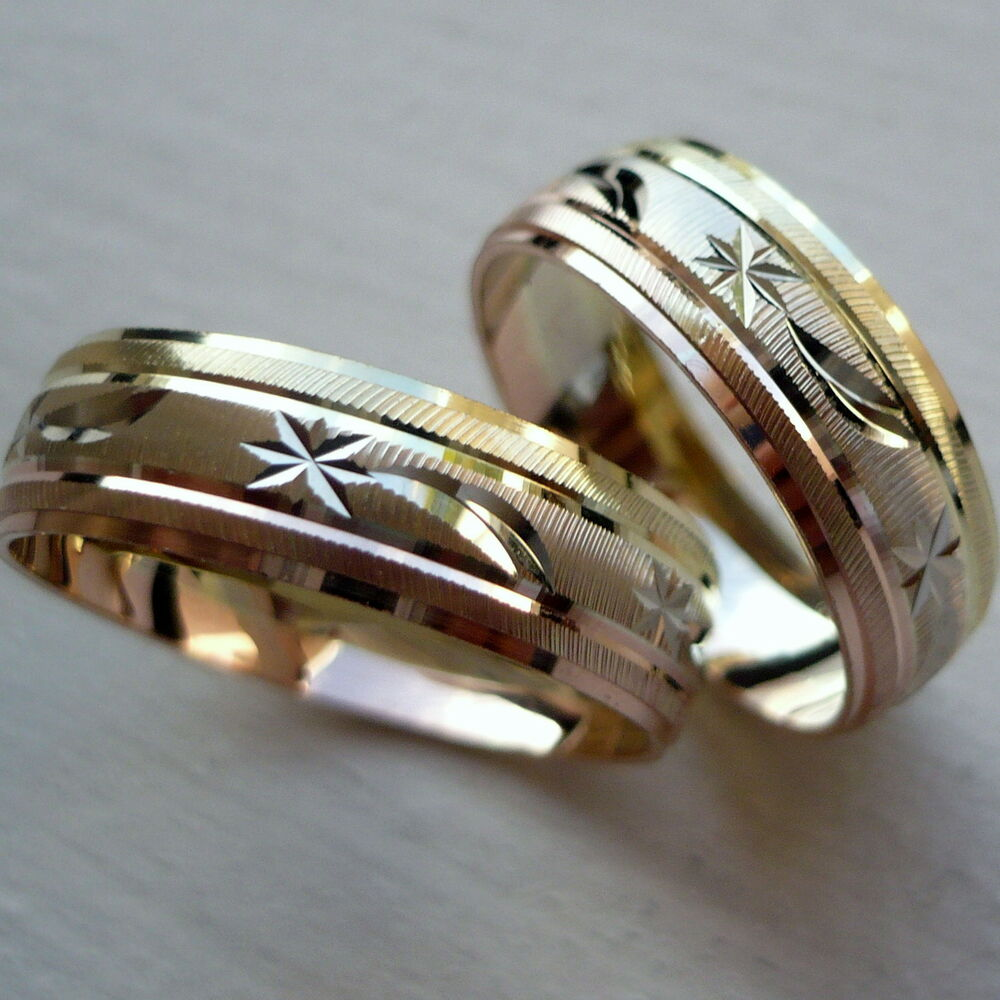 14k solid tricolor gold his and her wedding band ring set for Wedding bands and engagement ring sets