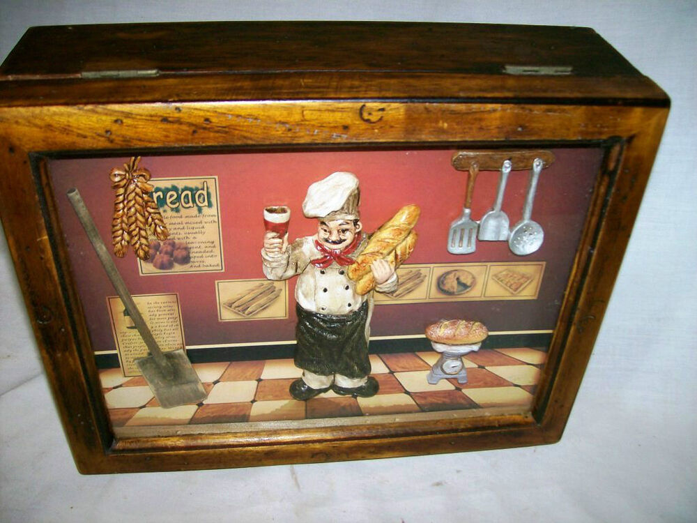 Kitchen Diorama Made Of Cereal Box: Unique Miniture Mini Kitchen Chef With Glass Front Wooden