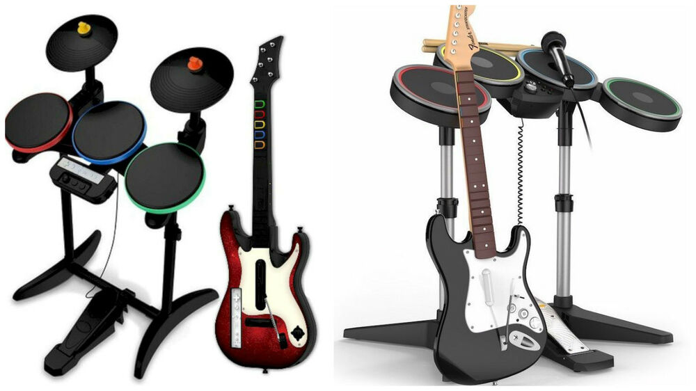 Rock Band Guitar Hero PS3 XBOX Wii PS2 Bundle Lot Drums ...