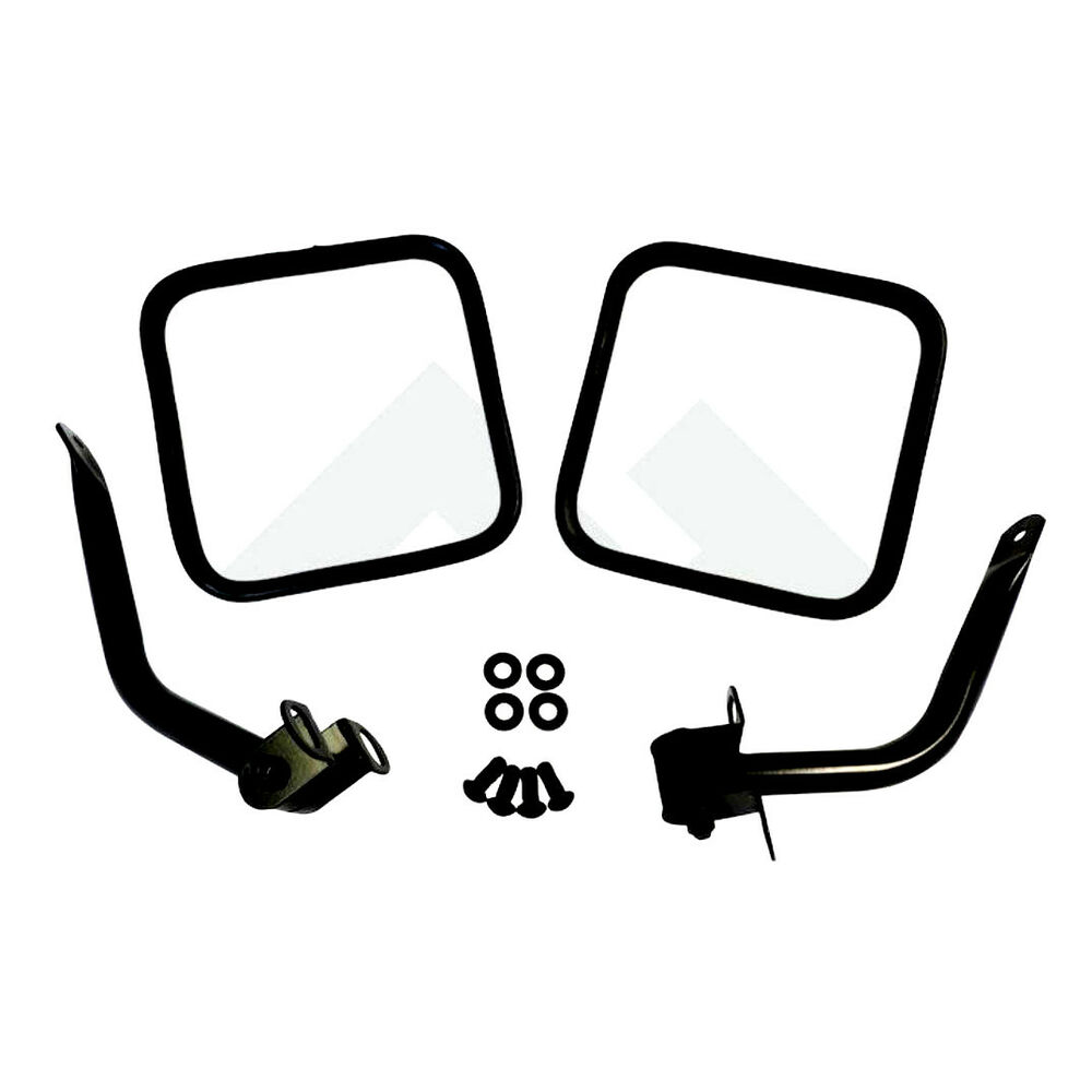 side mirror kit pair for jeep cj wrangler yj black 1976