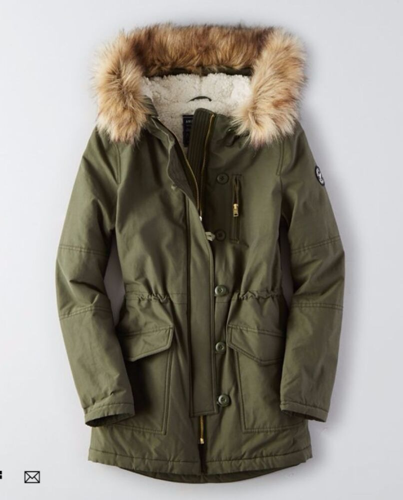 NEW American Eagle Outfitter AEO Long Parka Fur Jacket