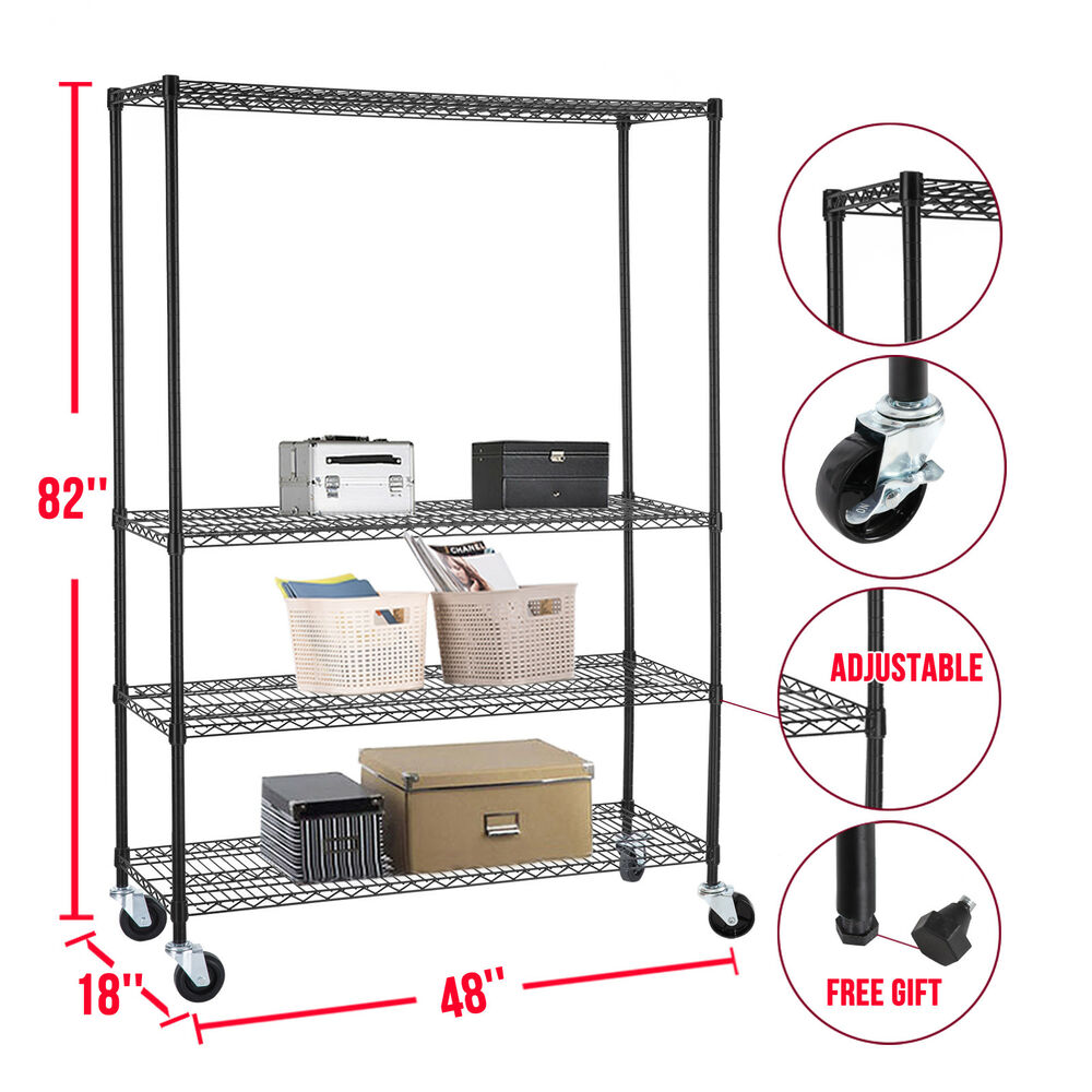 wire storage rack 82 quot x48 quot x18 wire shelving rack 4 tier 29332