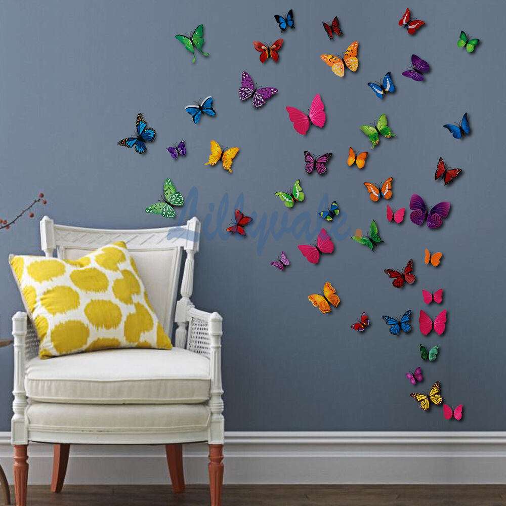 12 pcs 3d butterfly wall stickers art decal home room decorations decor kids ebay. Black Bedroom Furniture Sets. Home Design Ideas
