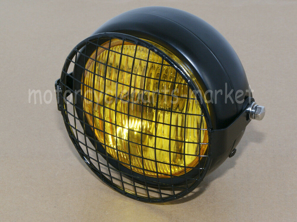 Cafe Racer Headlight Assembly : Grill retro amber vintage motorcycle side mount headlight