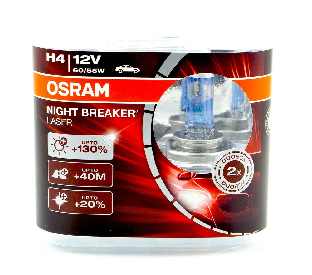 osram h4 night breaker nightbreaker laser duo 130 12v 60 55w 64193nbl top ebay. Black Bedroom Furniture Sets. Home Design Ideas