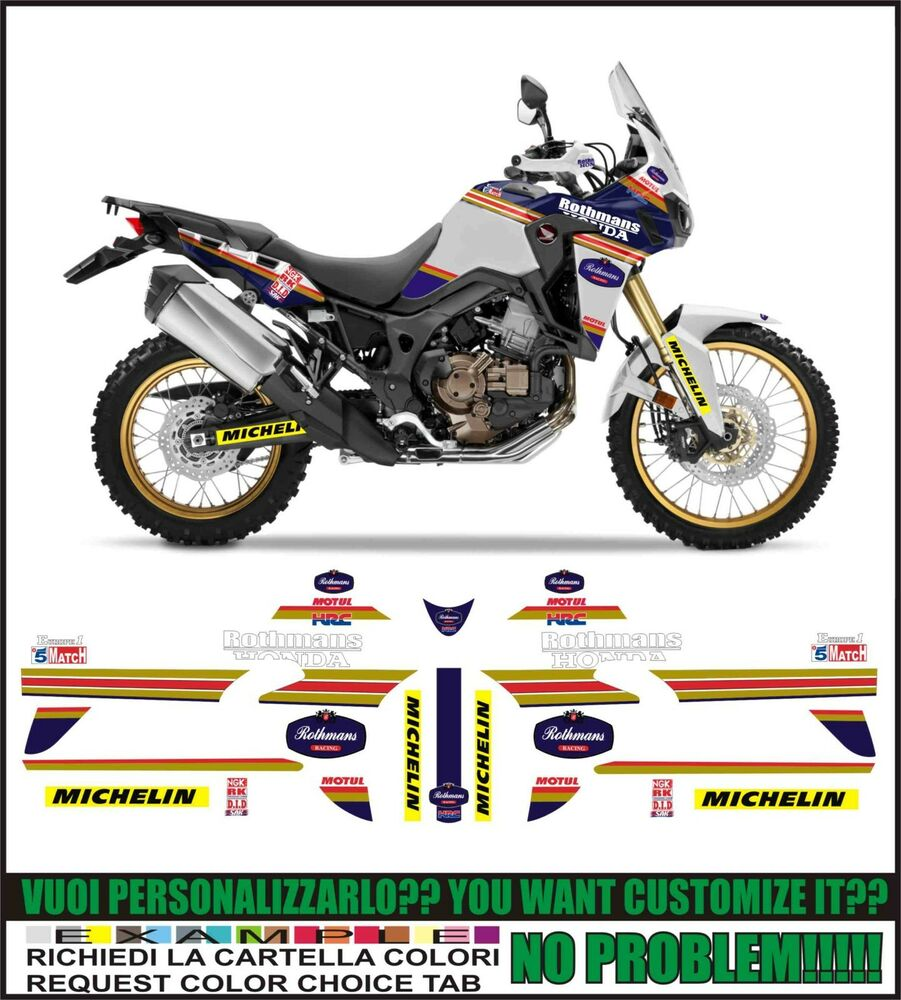 kit adesivi stickers compatibili africa twin crf 1000 l. Black Bedroom Furniture Sets. Home Design Ideas