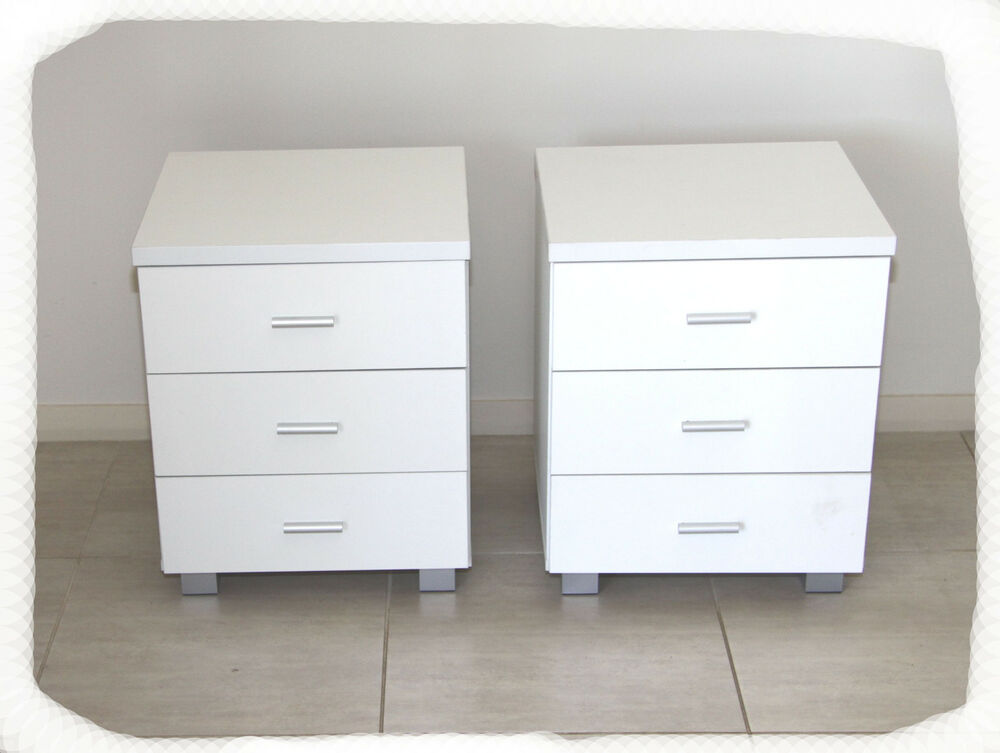 Set of 2 connie white 3 drawer bedside tables brand new ebay - Bedside tables for small spaces set ...