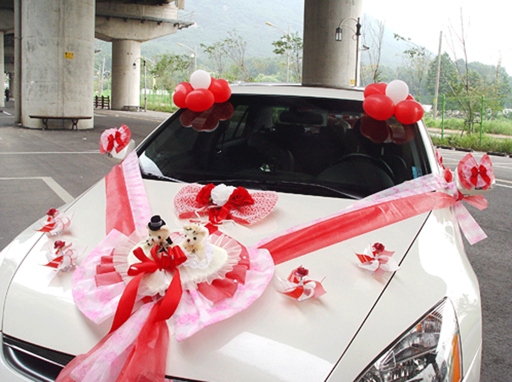 wedding car decorations kit red teddy bear dolls ribbon. Black Bedroom Furniture Sets. Home Design Ideas