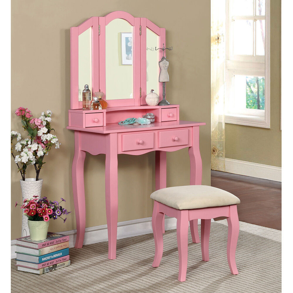 Janelle Vanity Makeup Table Set Tri Folding Bench Mirror