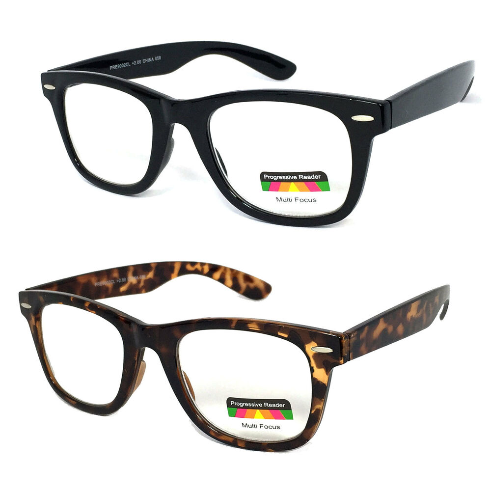 Reading Glasses No Frame : Reading Glasses No Line Progressive Clear Lens Retro ...