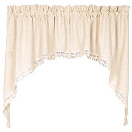 Rosemary Linen Kitchen Curtain Swag: New Shabby French Country Chic Cream LINEN & LACE Curtain
