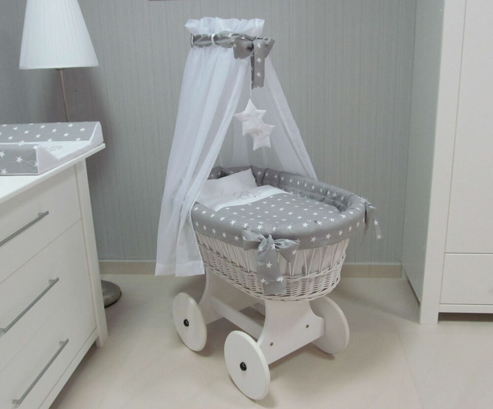 The Original White Grey Wicker Crib Moses Basket With