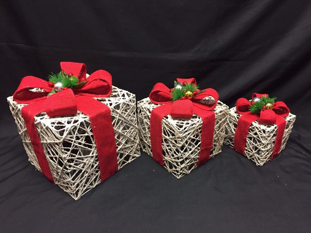 Light Up Large Rattan Red Bow Indoor Outdoor Christmas