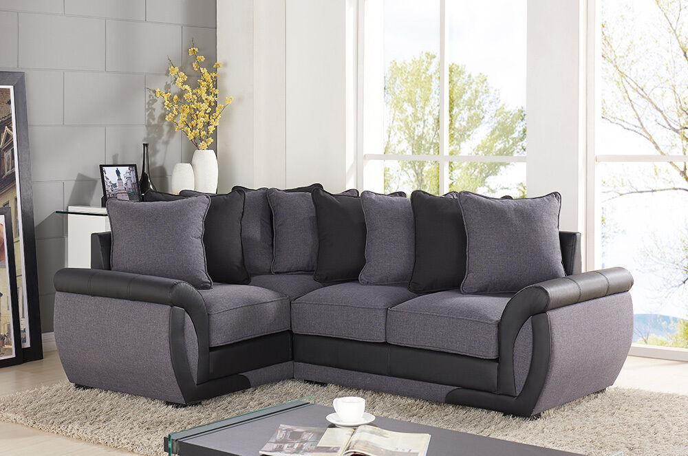 Corner Sofa Suites Settee Gray Charcoal Fabric 3 2 Seater