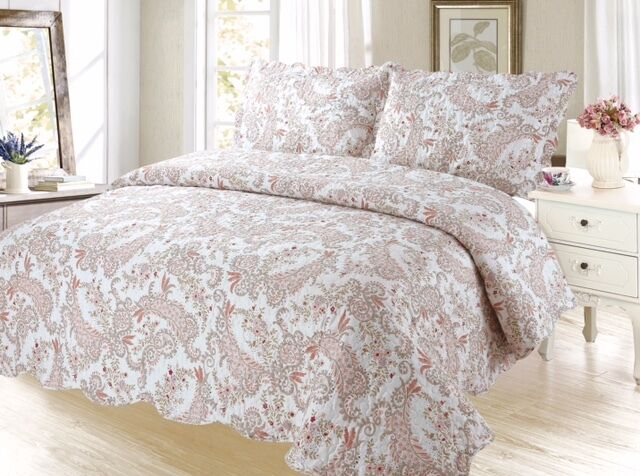 Coral Paisley Bedding 3pc Bedspread Coverlet Quilt Set