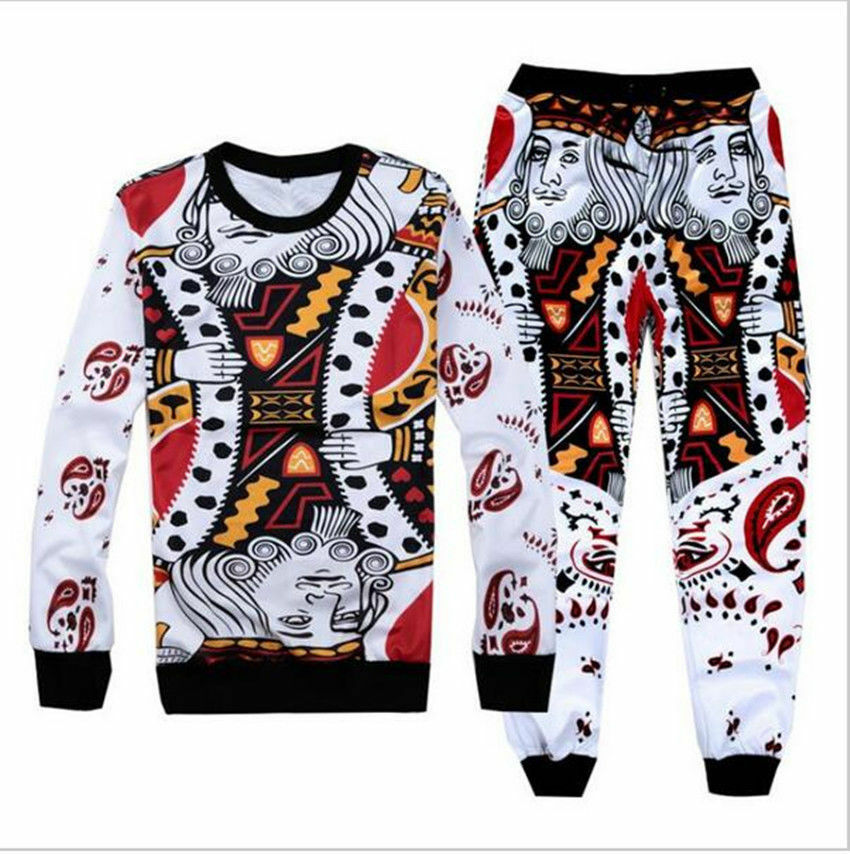 Women/Men's playing cards suits 3D Print Sweatshirt/pants ...