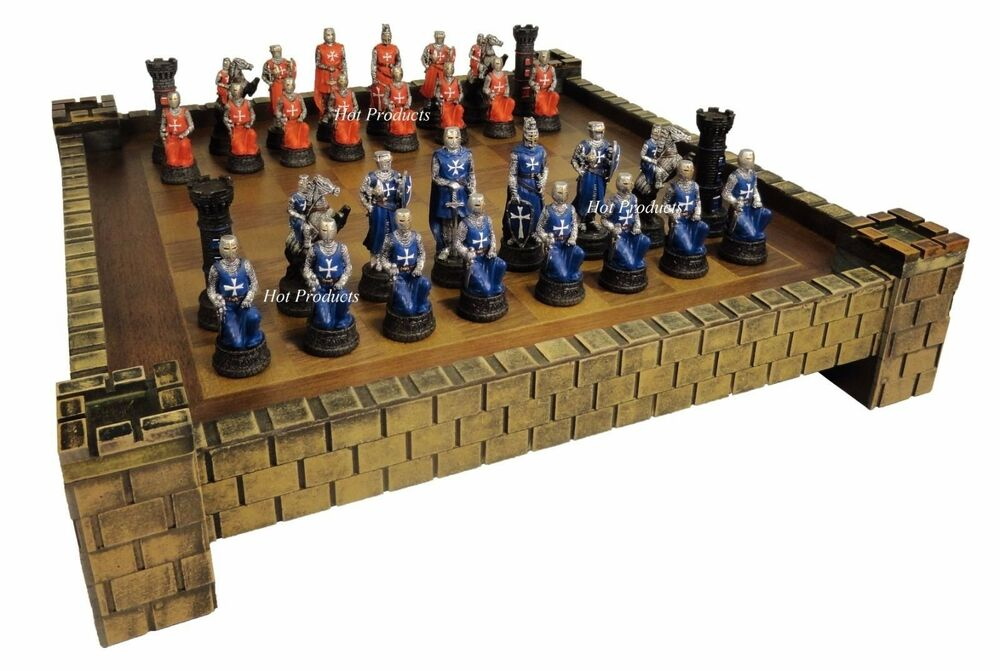 Medieval times crusades warrior red blue chess set w 17 castle board ebay - Medieval times chess set ...