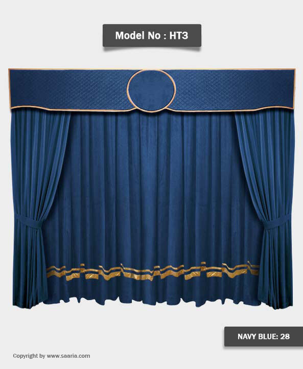 Saaria Ht 3 Navy Blue Home Theater Velvet Curtains School
