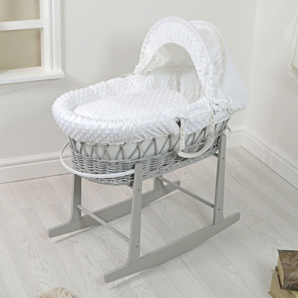 new 4baby grey wicker white dimple padded baby moses. Black Bedroom Furniture Sets. Home Design Ideas