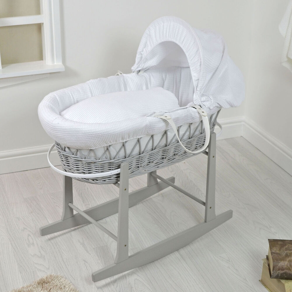 NEW 4BABY GREY WICKER / WHITE WAFFLE PADDED BABY MOSES ...