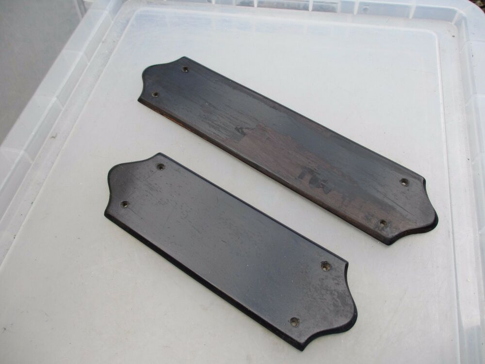 Antique wooden finger plates push door handles for Door push plates