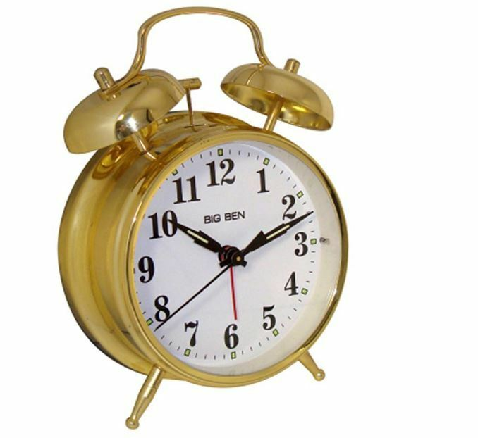 westclox battery powered big ben twin bell alarm clock gold vintage analog new ebay. Black Bedroom Furniture Sets. Home Design Ideas