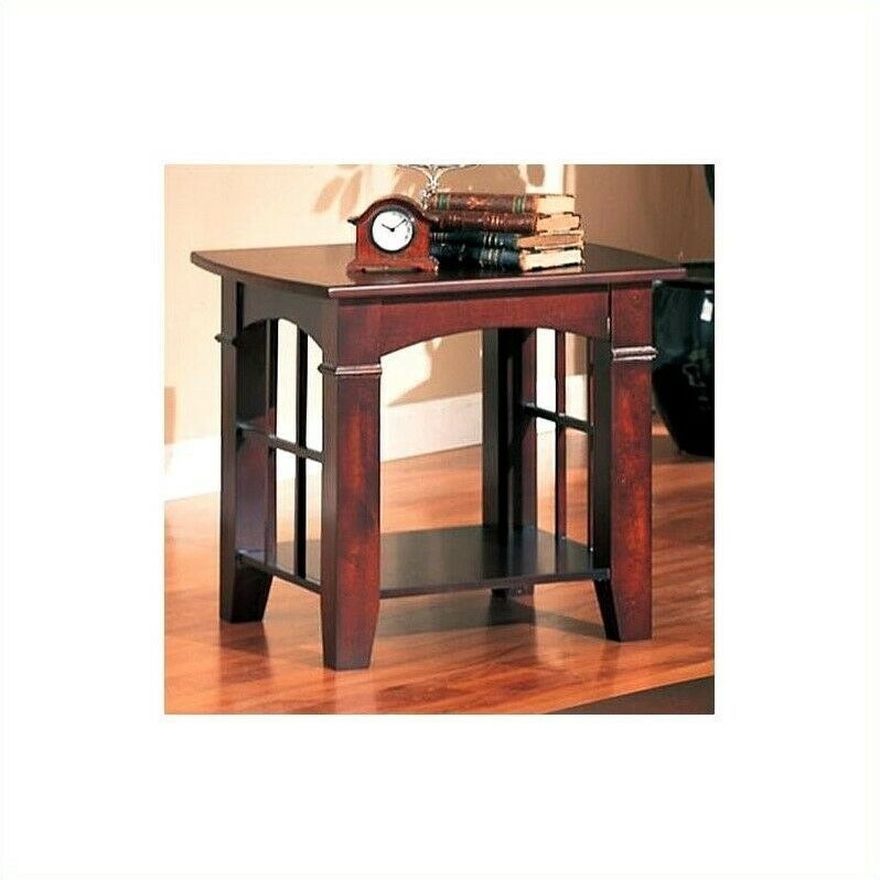 End Table Living Room Furniture Square In Cherry Transitional EBay