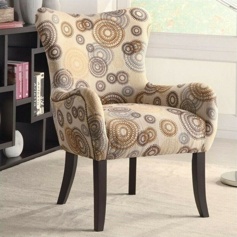 coaster upholstered accent arm chair in beige geometric