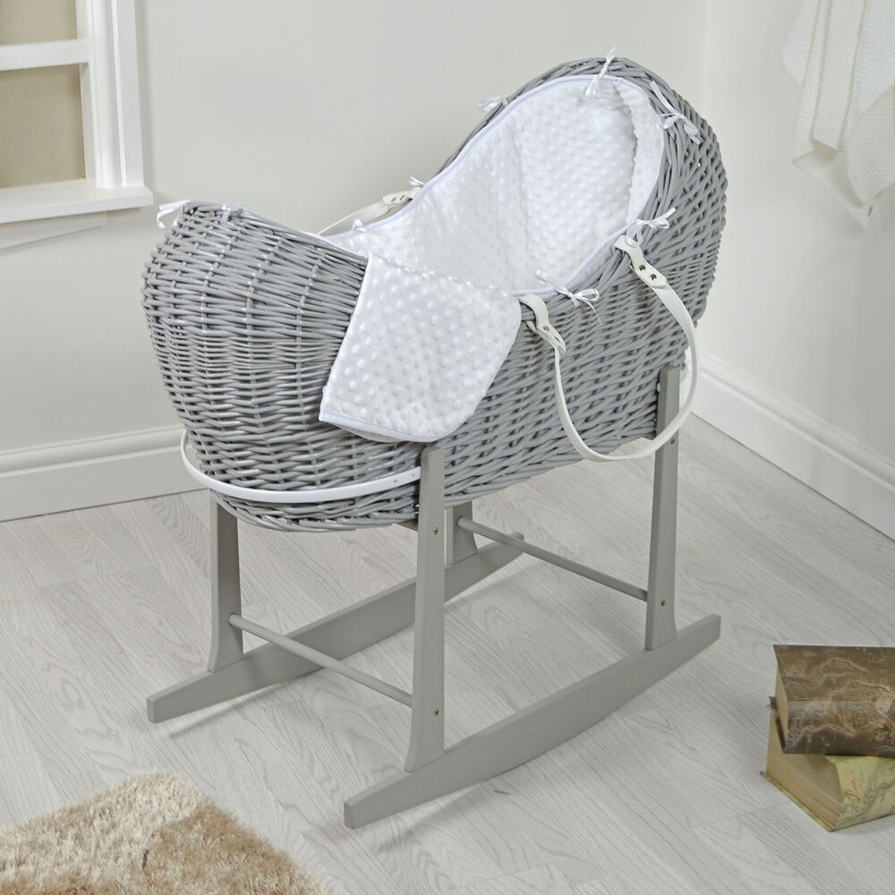4baby grey wicker white dimple padded snooze pod moses. Black Bedroom Furniture Sets. Home Design Ideas